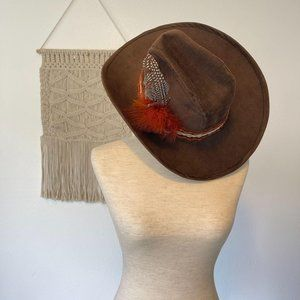 Vintage Hang Ten Cowboy Hat Feather Boho Size M
